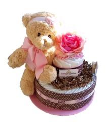 Girls 2-tier diaper cake