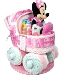 Minnie bassinet diaper cake