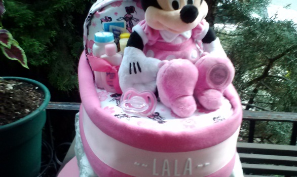 Minnie Pink Bassinet Diaper Cake