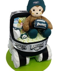 Eagles bassinet diaper cake with monkey