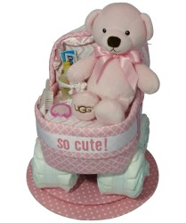 Uggs Bassinet diaper cake pink Uggs bear and security blanket